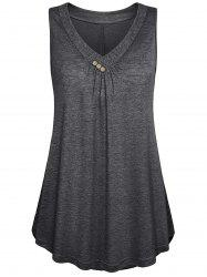 Plus Size Flare Button Tank Top -