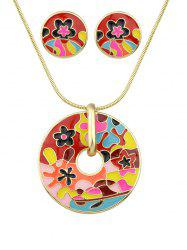 Floral Round Pendant Necklace with Earrings -