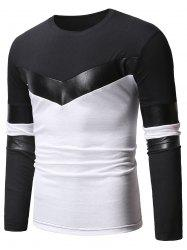 Faux Leather Panel Color Block Casual T-shirt -