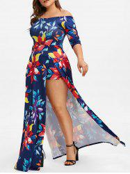 Off Shoulder Floral Plus Size Maxi Romper Dress -