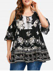 Floral Plus Size Cold Shoulder Tunic -