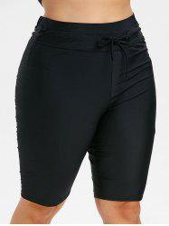 Plus Size Drawstring Knee Length Swim Pants -