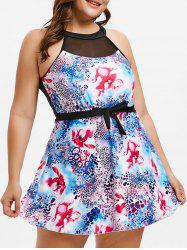 Plus Size Open Back Printed Swimsuit -