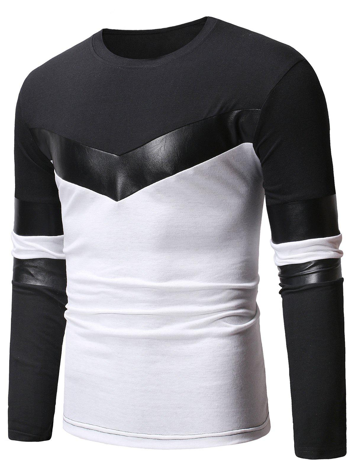 Online Faux Leather Panel Color Block Casual T-shirt