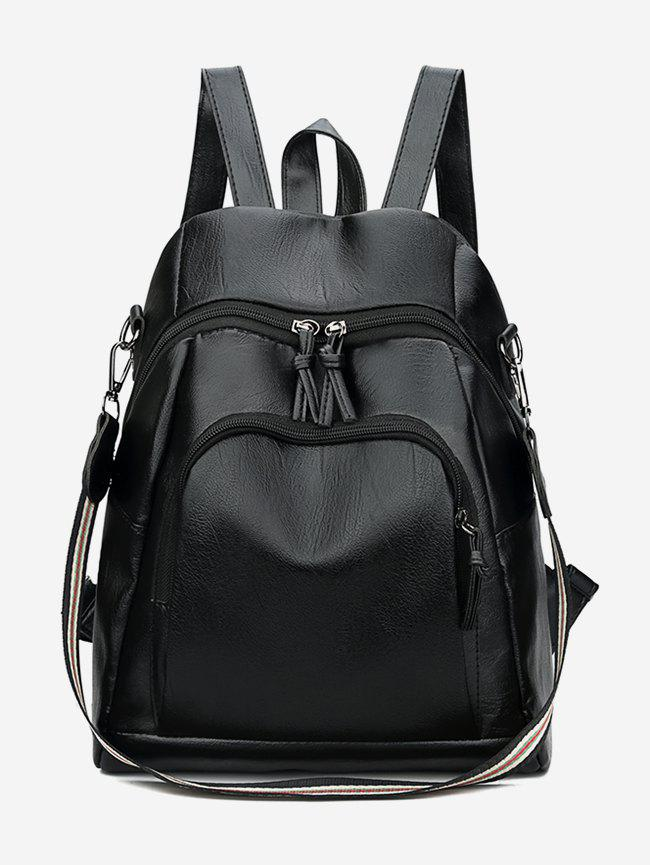New Solid Zipper Design Leather Backpack