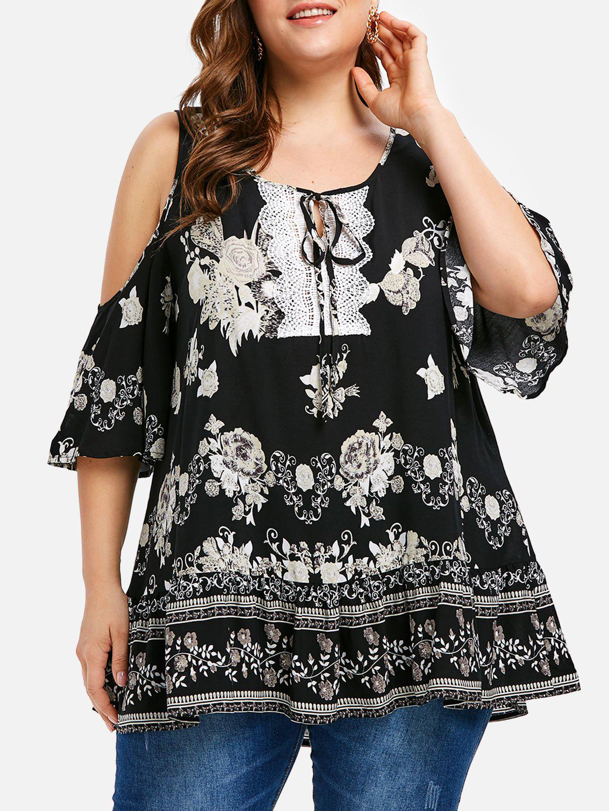 Latest Floral Plus Size Cold Shoulder Tunic