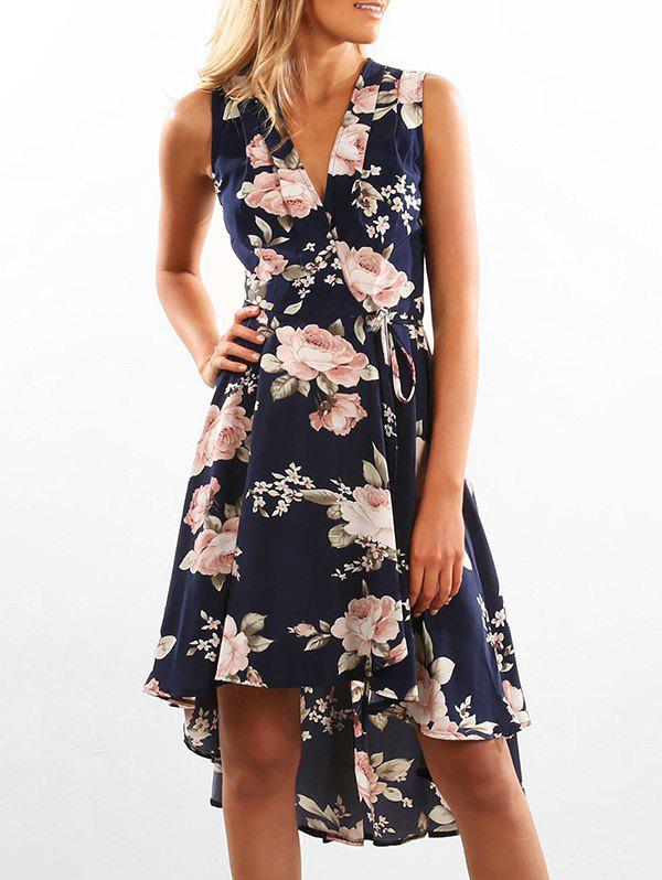 Affordable Wrap Floral Print High Low Hem Dress