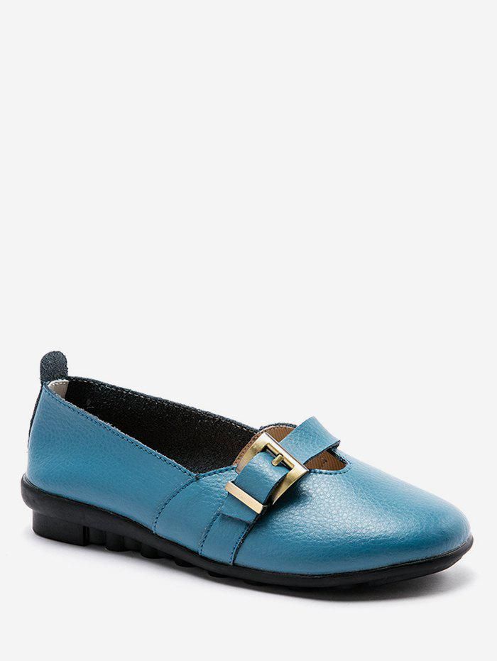 Chic V Cut Buckle Strap Loafer Flats
