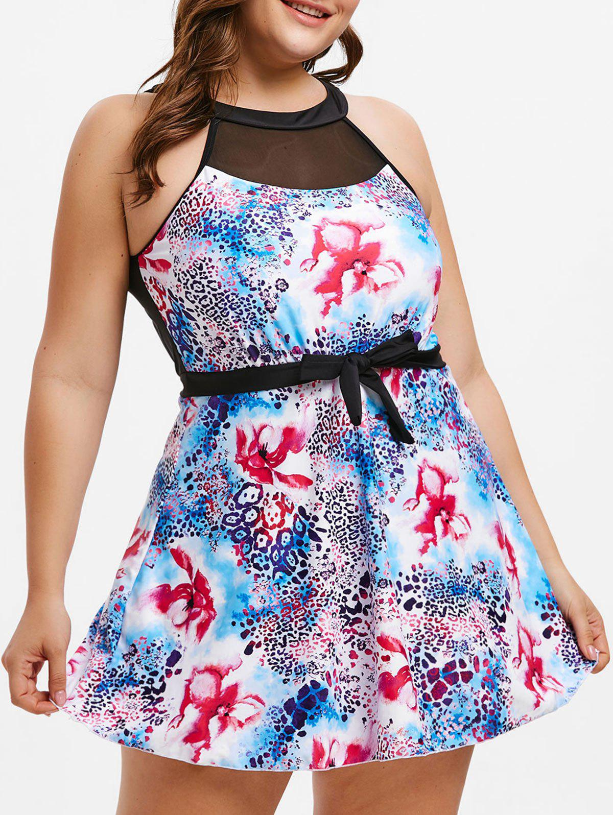 Store Plus Size Open Back Printed Swimsuit