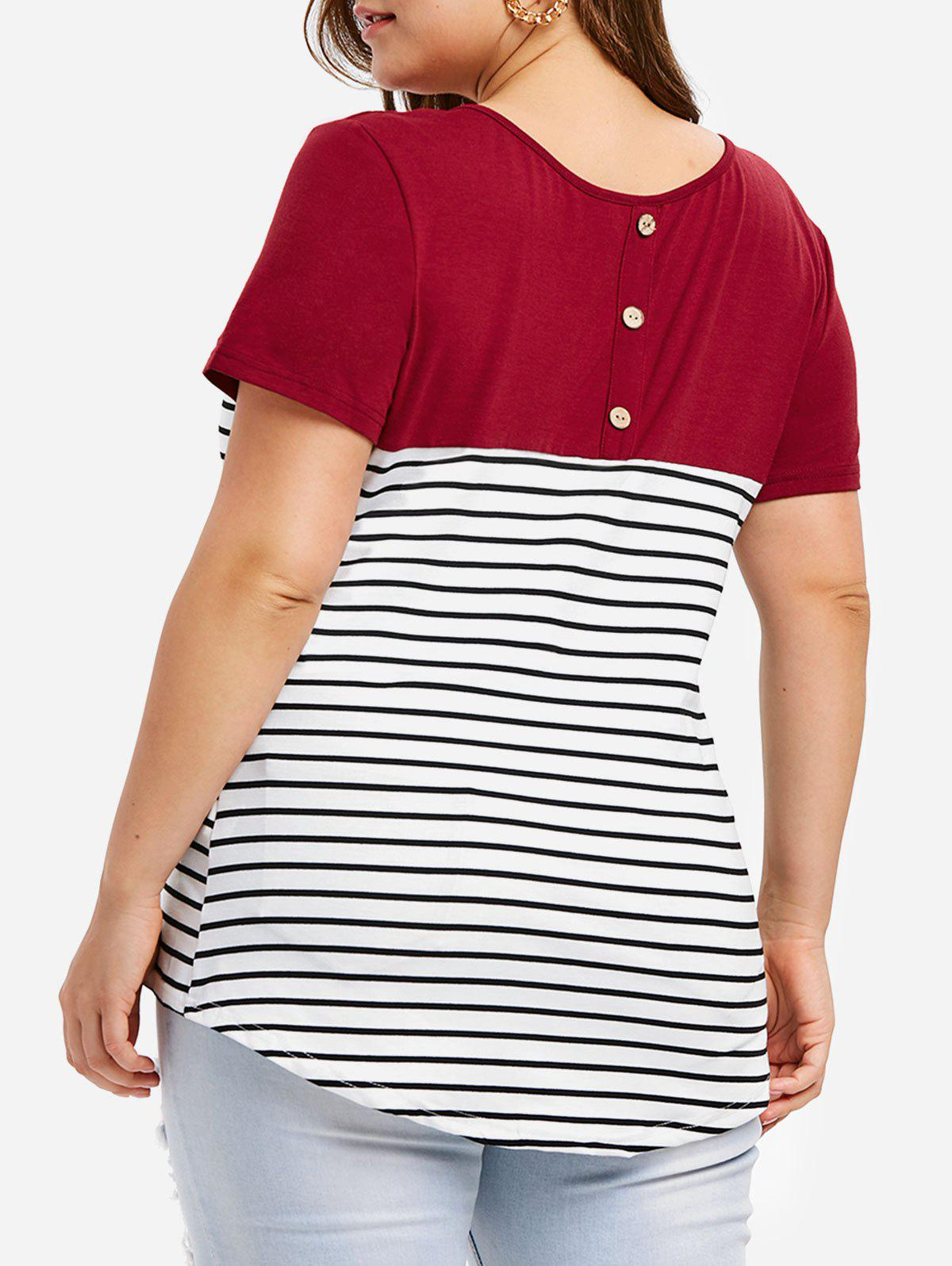 Striped Panel Button Embellished Plus Size T-shirt