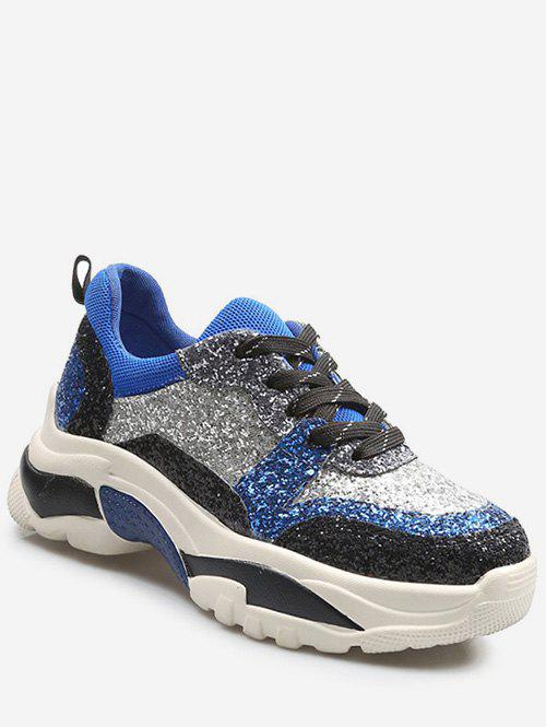 Affordable Glitter Color Block Platform Sneakers