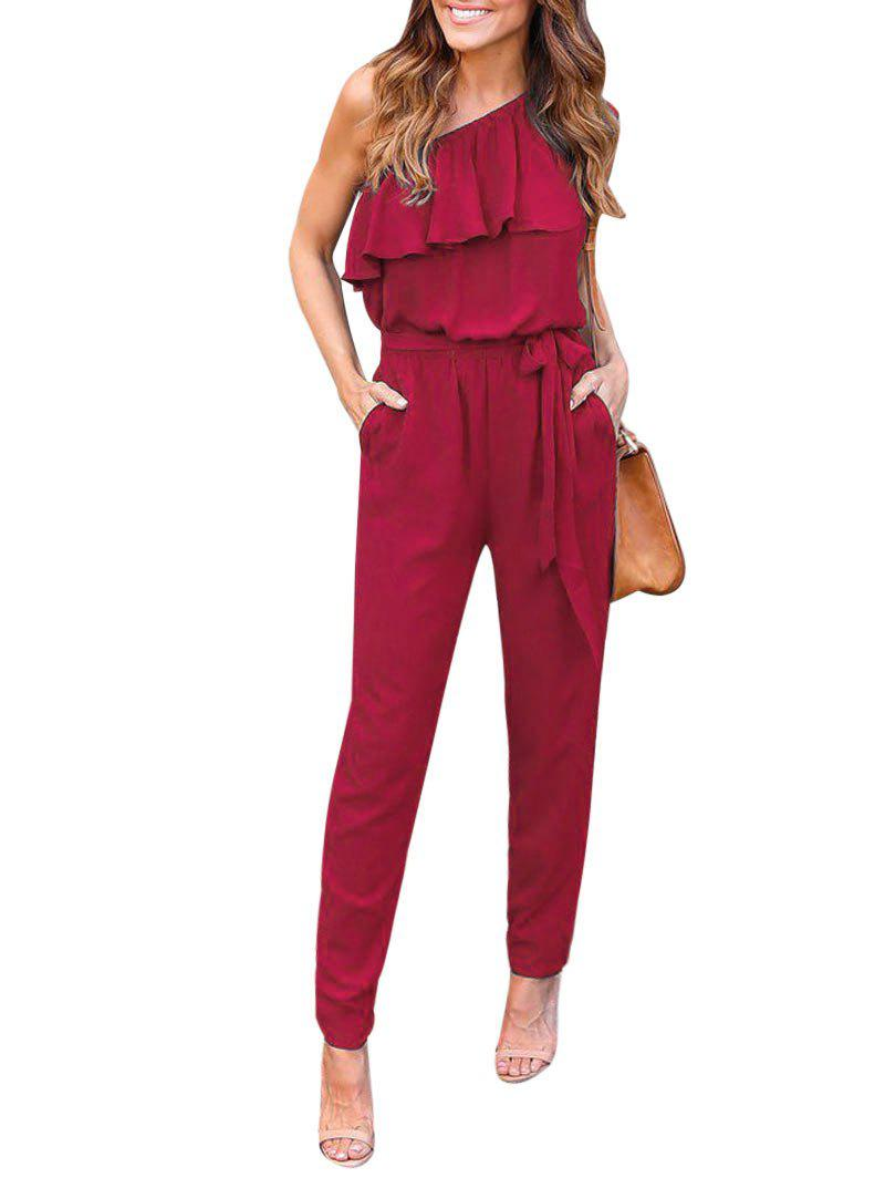 Trendy One Shoulder Flounce Chiffon Jumpsuit