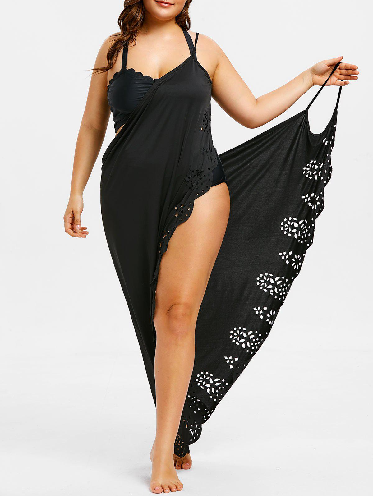 Sale Plus Size Laser Cut Wrap Cover Up Maxi Dress