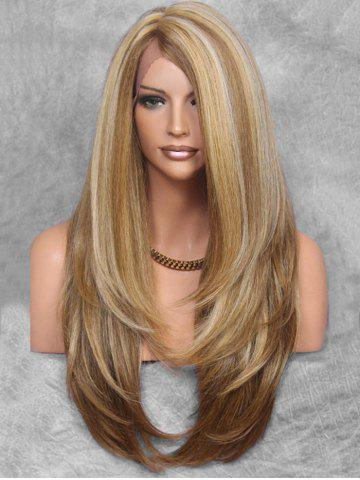 Layered Side Part Long Straight Synthetic Wig with Lace Front