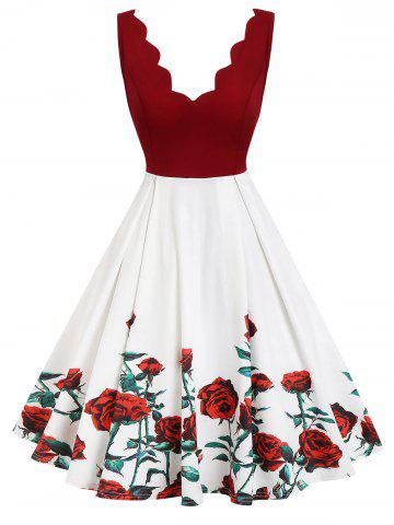 Plunge Scalloped Floral A Line Dress