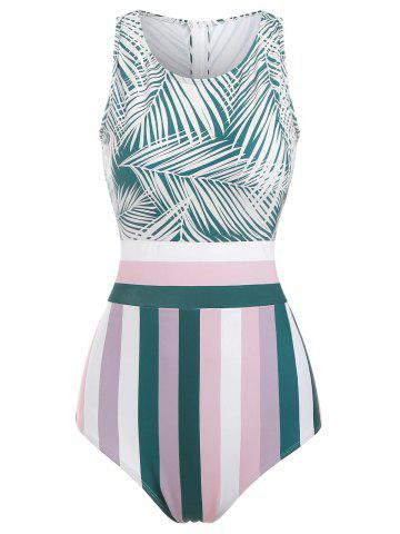 Knotted Striped Leaves Print Swimsuit