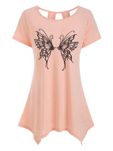 Cut Out Butterfly Graphic Longline Tee