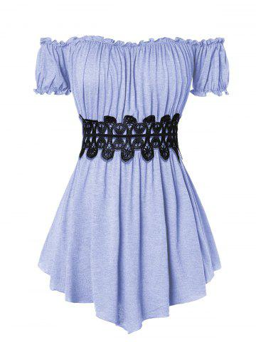 Plus Size Off The Shoulder Pleated T Shirt