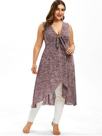 Plus Size Plunging Neckline Bowknot High Low Tank Top