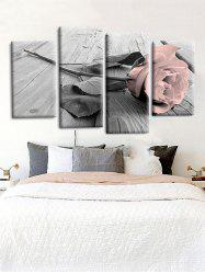 4Pcs Rose Flower Pattern Print Wall Art -