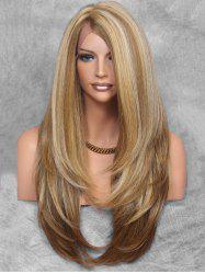 Layered Side Part Long Straight Synthetic Wig with Lace Front -