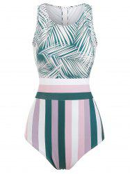 Knotted Striped Leaves Print Swimsuit -