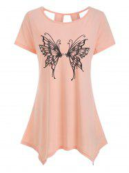 Cut Out Butterfly Graphic Longline Tee -