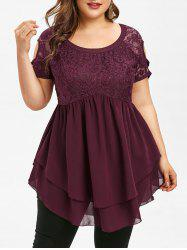Lace Insert Plus Size Short Sleeve Blouse -