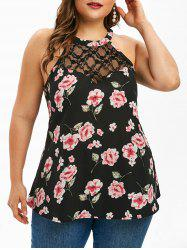 Plus Size Printed Lace Insert Tank Top -