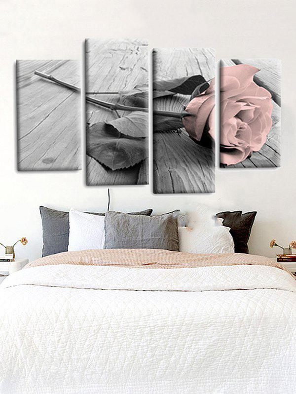 Fancy 4Pcs Rose Flower Pattern Print Wall Art