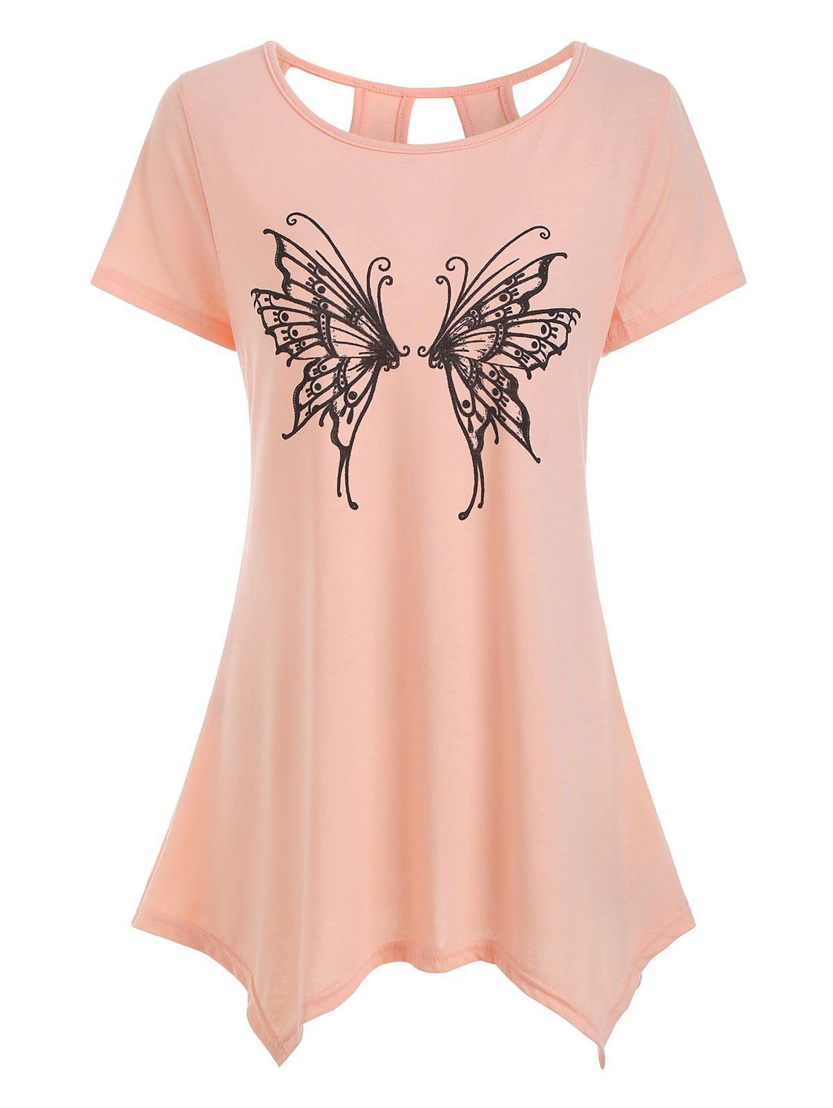 Fashion Cut Out Butterfly Graphic Longline Tee