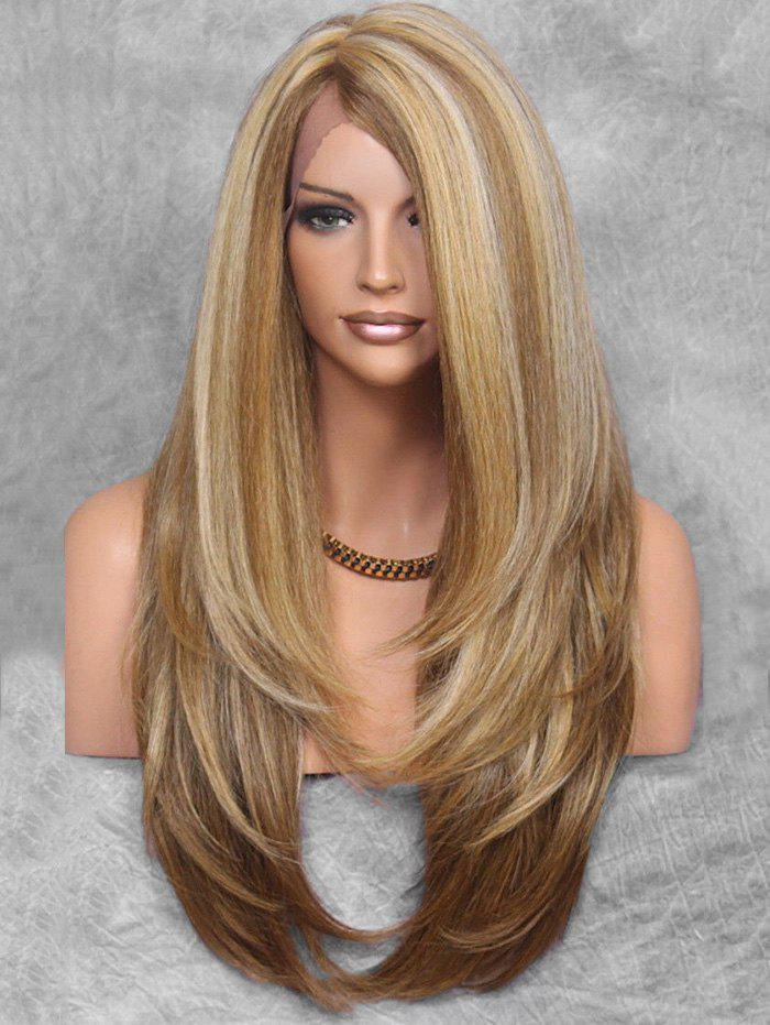 Fashion Layered Side Part Long Straight Synthetic Wig with Lace Front