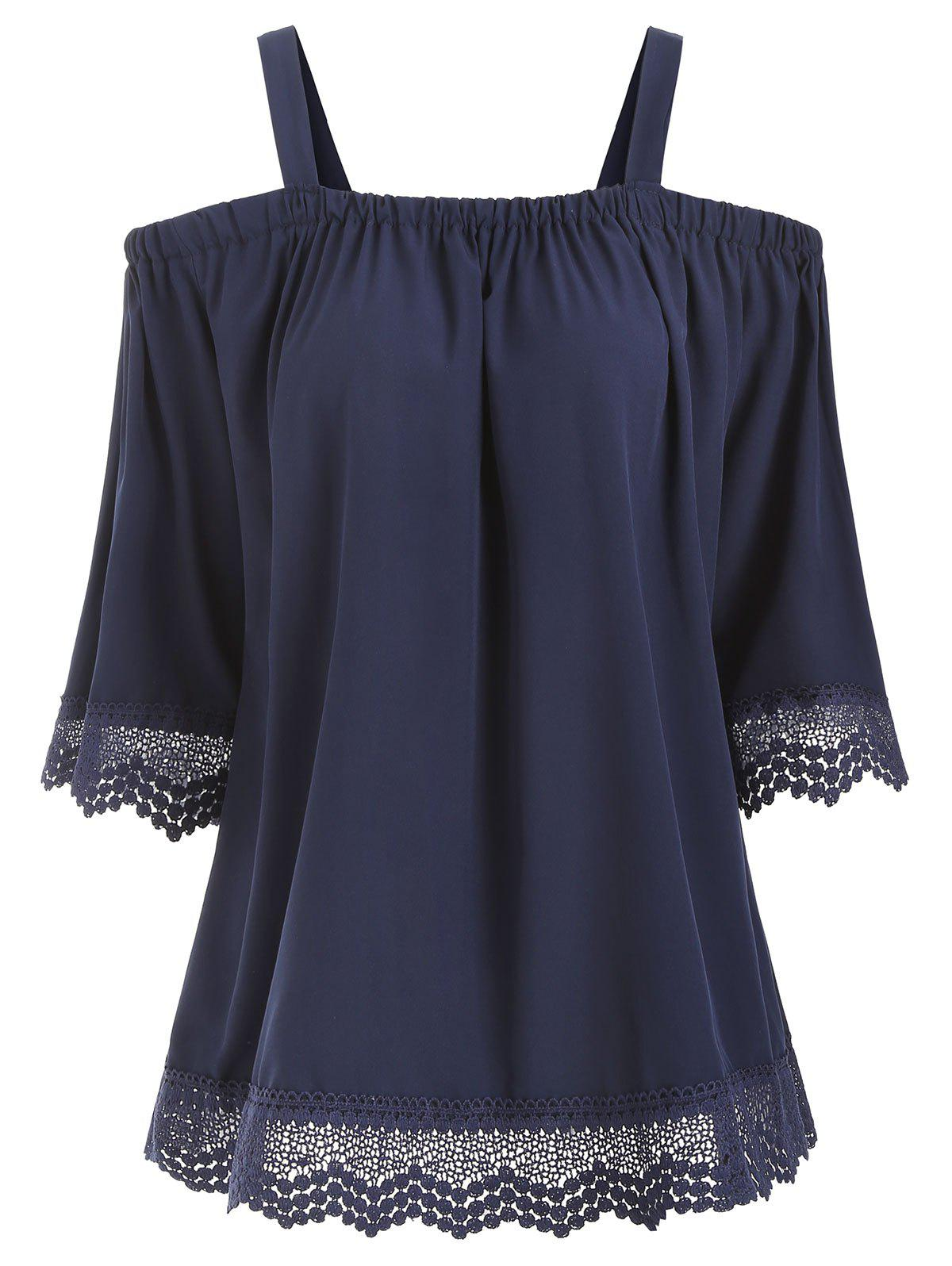 Hot Cold Shoulder Half Sleeve Openwork Blouse
