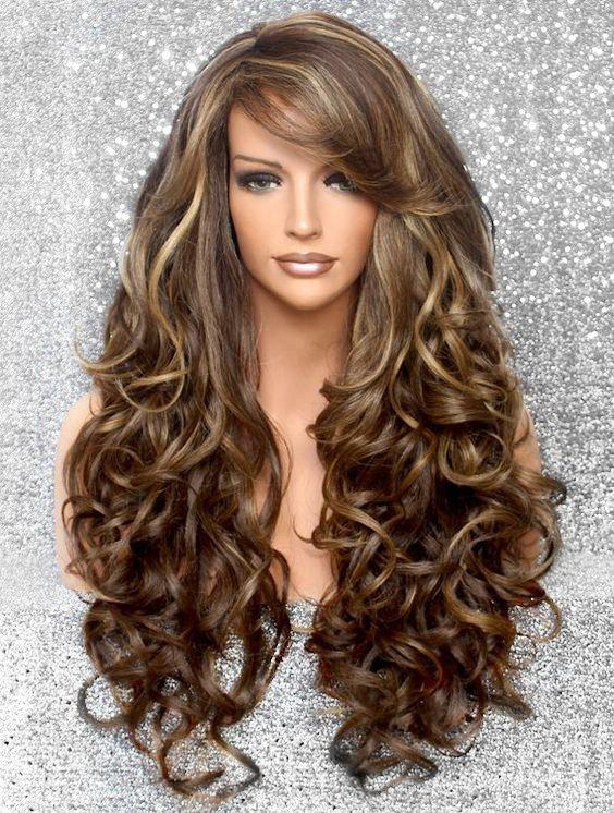 Unique Side Bang Body Curly Long Synthetic Wig