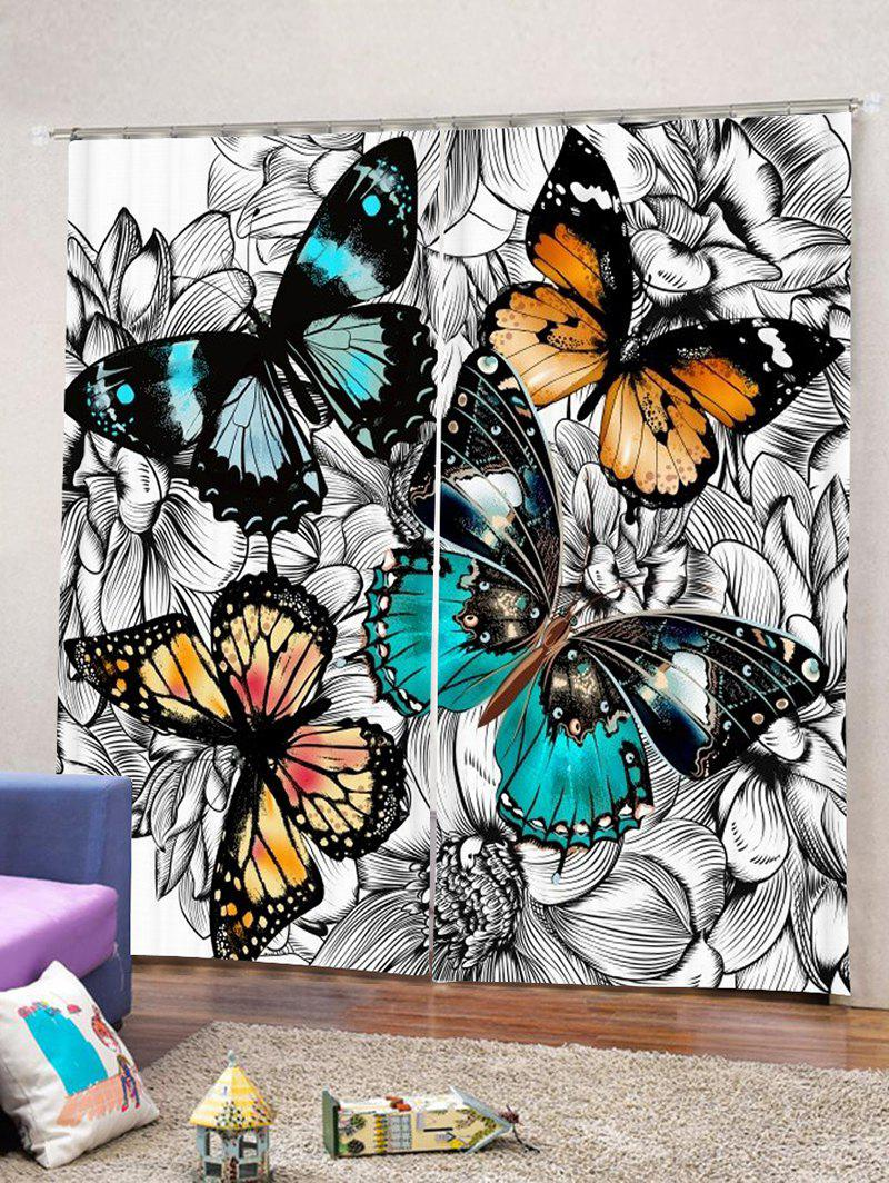 Hot 2PCS Vintage Butterfly Print Window Curtains