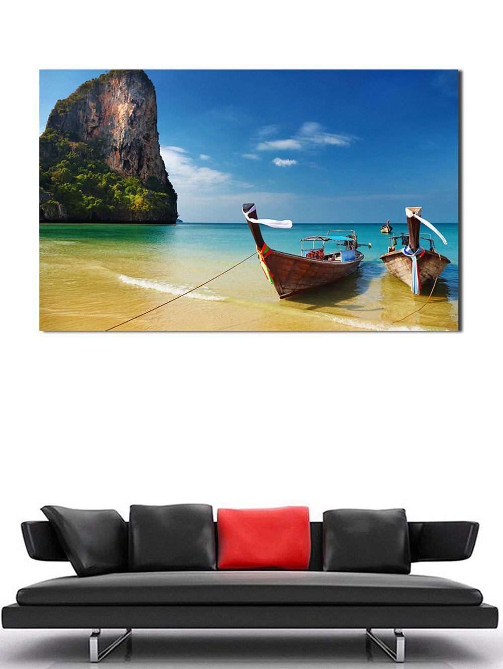Trendy 3D Seaside Boat Beach Hanging Wall Art