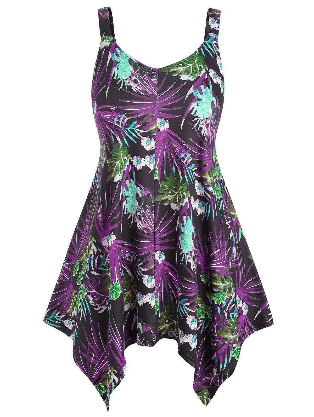 Floral and Leaf Plus Size Asymmetrical Tank Top