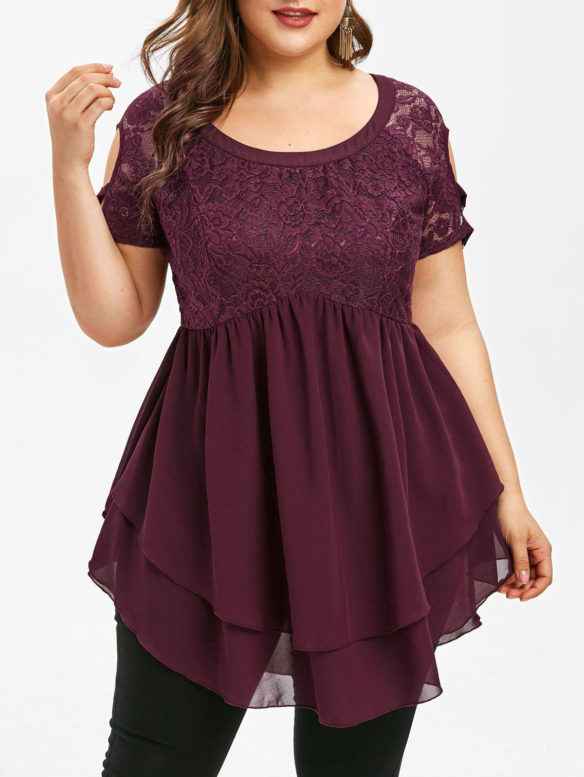 Shop Lace Insert Plus Size Short Sleeve Blouse