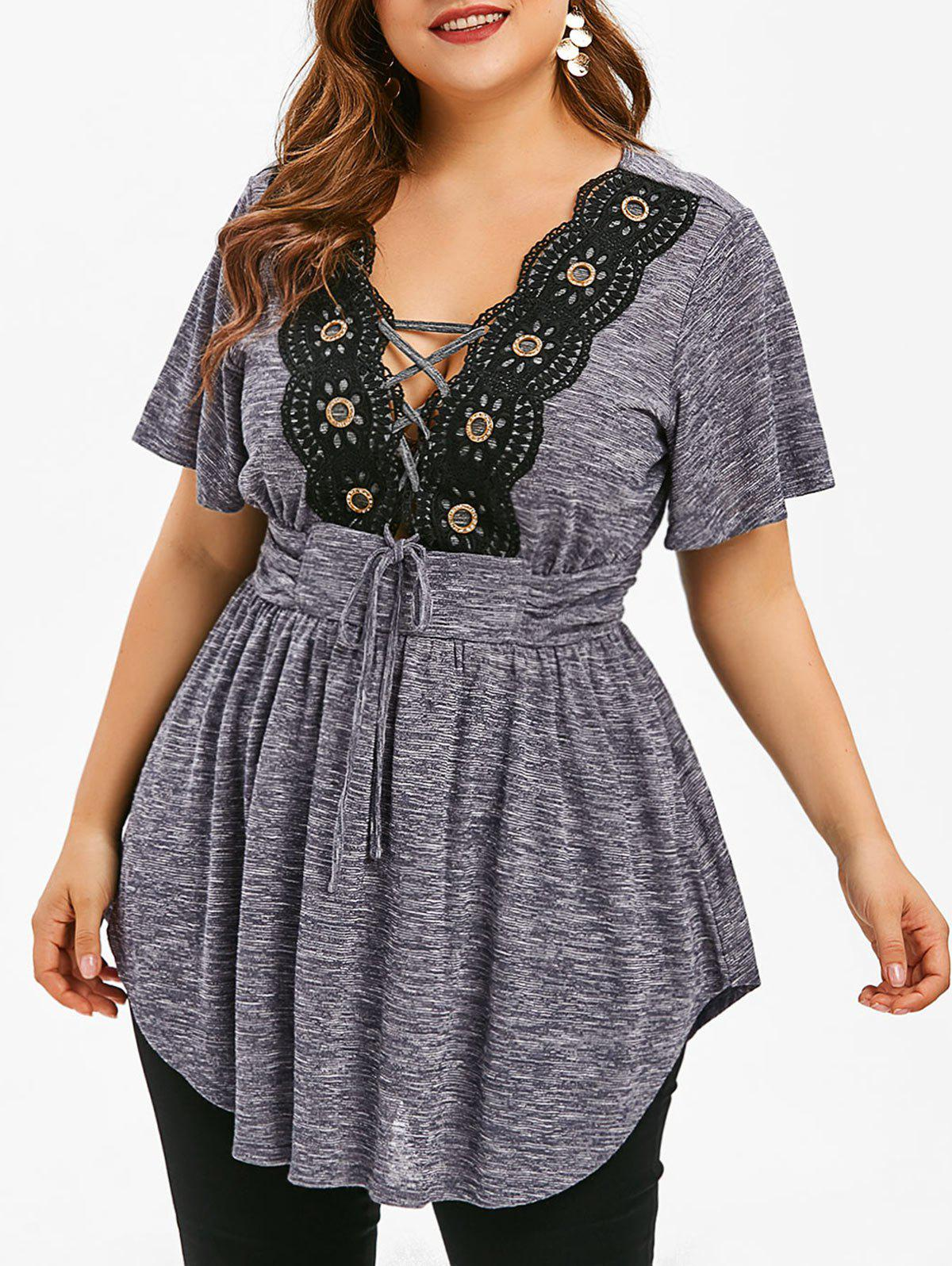 Outfits Lace Panel Lace Up Plus Size T-shirt
