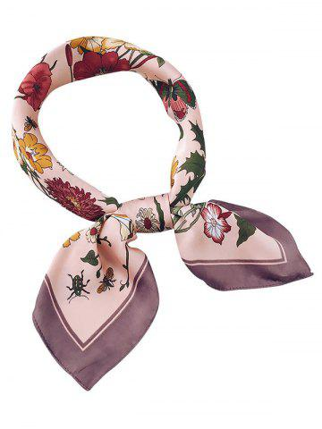 Print Flowers Bordered Square Scarf