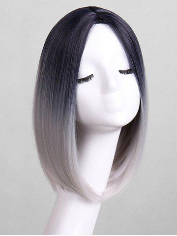Center Part Straight Gradient Medium Synthetic Wig