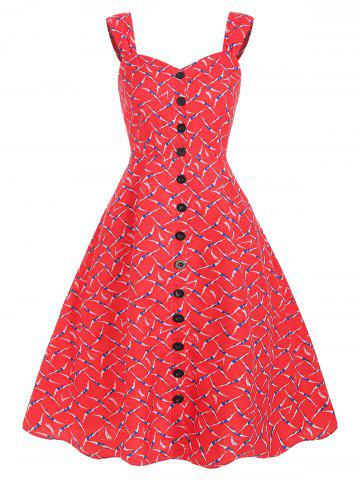 Printed Button A Line Dress