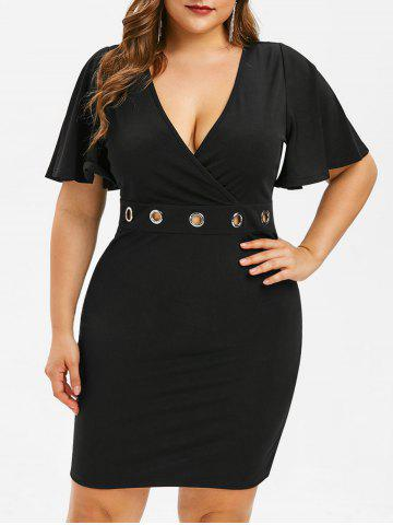 72c1805fd Plus Size Bell Sleeve Lace Panel Dress