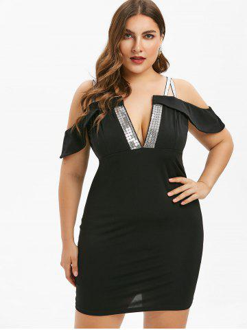 Plus Size Cold Shoulder Sequined Bodycon Dress