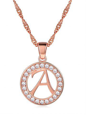 Letter A Circle Pendant Initial Necklace
