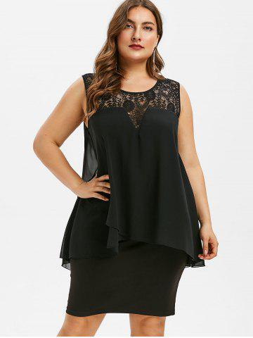 Plus Size Tiered Lace Panel Bodycon Dress