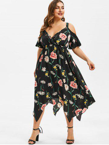 6568f4287a2 Plus Size Plunge Cold Shoulder Asymmetrical Dress