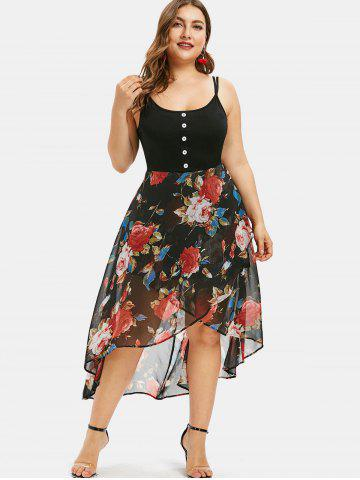 902785ee63f Floral Overlay High Low Plus Size Dress