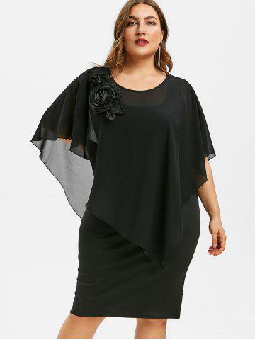 Plus Size Butterfly Sleeve Tiered Dress
