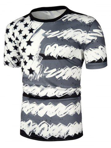 American Flag Printed Casual T-shirt